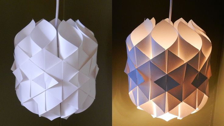 DIY paper lamp/lantern (Cathedral light) - how to make a pendant light out of paper - EzyCraft - YouTube