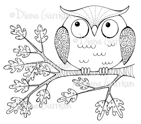 """Available on Etsy. """"Whimsical Owl"""" Digi Digital Stamp by Diana Garrison. $3.00"""