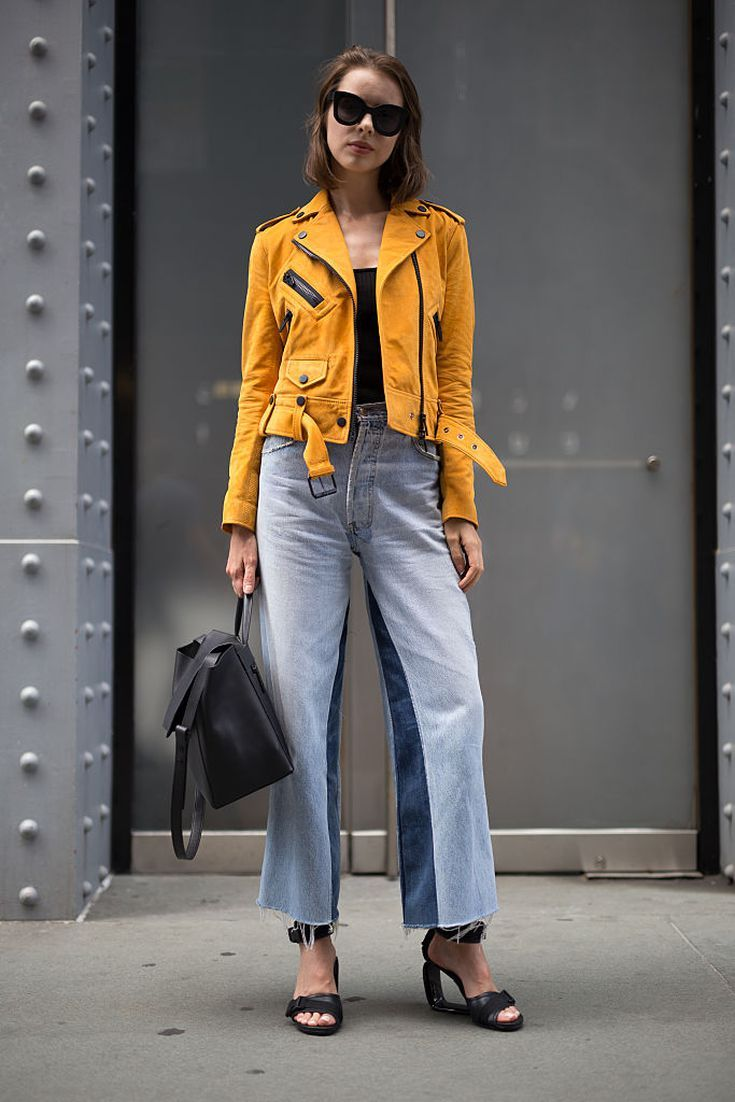 e3f46bb954dc4a How to Wear Denim Culottes Like a Fashion Expert: With a Colorful Leather  Jacket