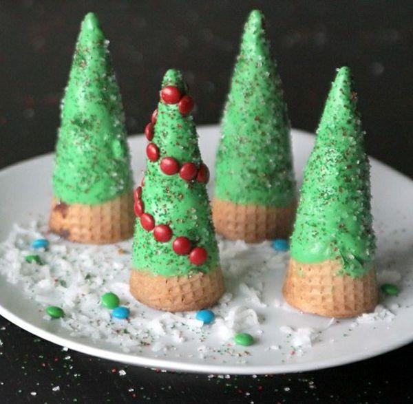weihnachtsbastelideen eisbecher als tannen