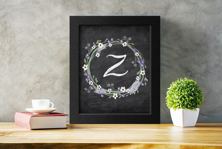 Letter Z initial monogram art on a chalkboard background. Available in several sizes to suit any space.  Just download, print, and hang.  #letterinitial #monogram #nurseryart