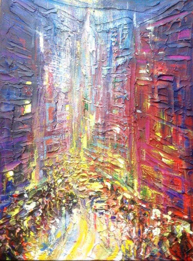 Semi abstract cityscape acrylic on canvas.