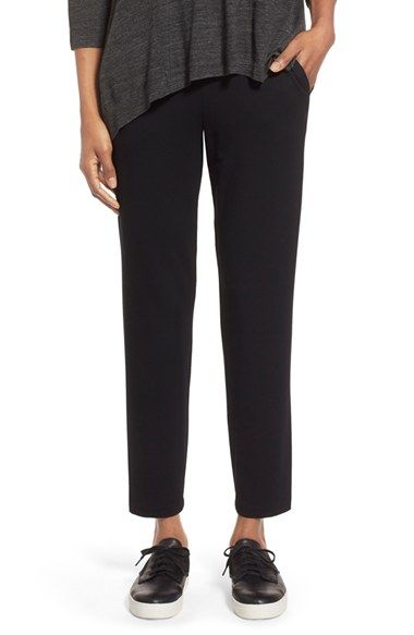 Eileen Fisher Straight Yoke Slim Crepe Knit Pants available at #Nordstrom