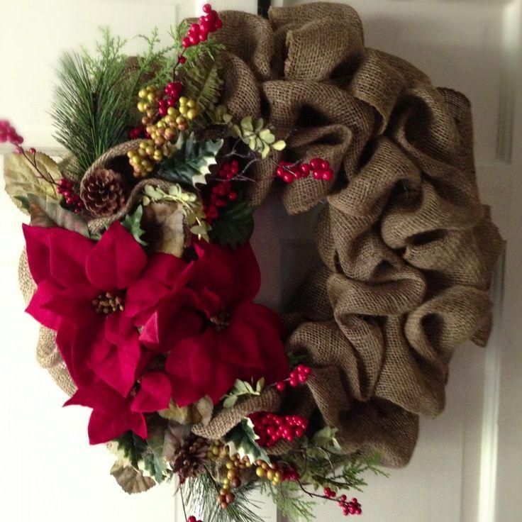 CHRISTMAS WREATH IDEAS | Gorgeous Burlap and Poinsettia Christmas Wreath. ... | Wreath Ideas