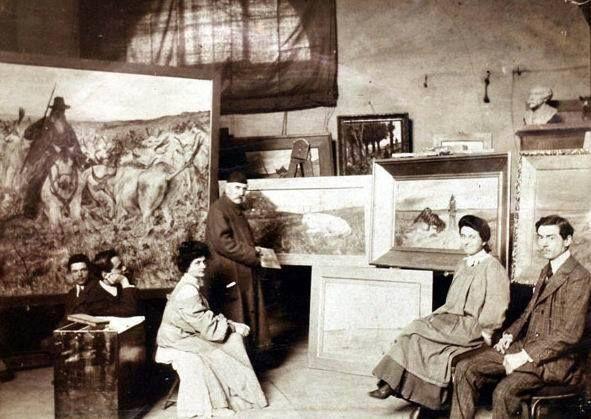 Giovanni fattori nel suo studio presso l 39 accademia di for Accademia belle arti design