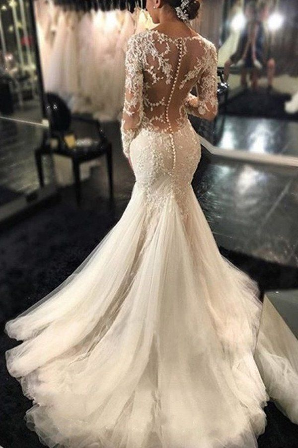 Gorgeous Long Sleeves Mermaid V Neck Wedding GownIvory Bridal Dress With Lace AppliquesN108