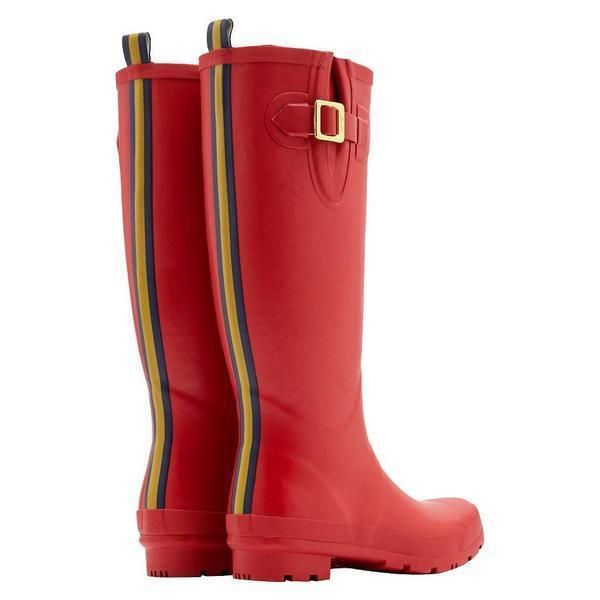JOULES SALE Field Welly Red Matte Striped Rain Waterproof Tall Rubber Boots 9 #Joules #Rainboots