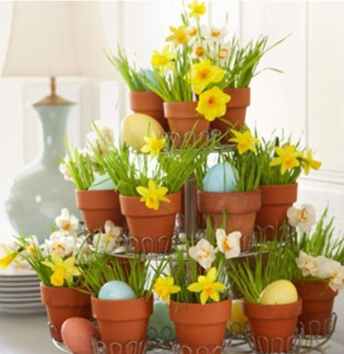 Easter decorating with daffodils, monogramed eggs. flower pots