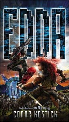 Edda by Conor Kostick In the virtual world of Edda, ruler Scanthax decides he wants to invade another virtual world, embroiling the universes of Edda, Saga, and Epic in war, with only three teenagers to try to restore peace.