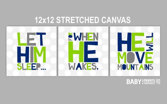 Baby Boy Nursery art prints, Set of 3 12x12. Let him sleep... navy, lime green, grey