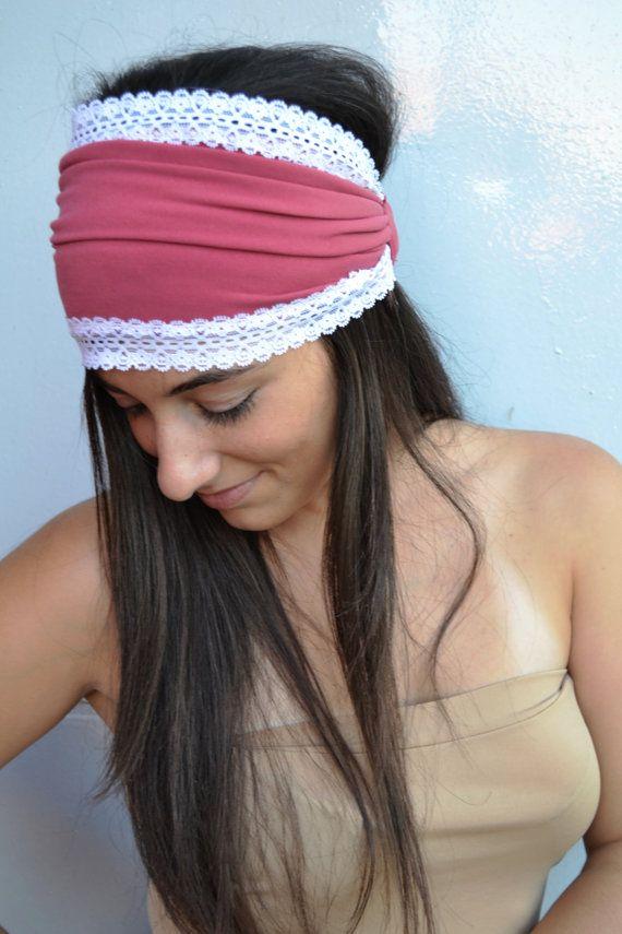 Fuchsia Wide Headband Jersey Bandana With White by HeavensShop, €13.50