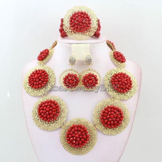 Африканские бусы Ювелирные Наборы Африканские нигерийские Хрустальные Бусины серьги ожерелье женщины Свадебные Украшения Заявление Ожерелье набор L1023 купить на AliExpress