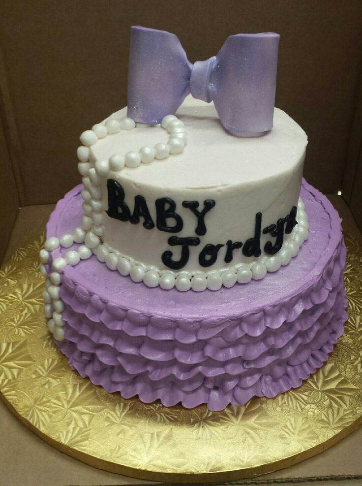 Calumet Bakery Buttercream Ruffle And Fondant Pearls And Bow Baby Shower  Cake