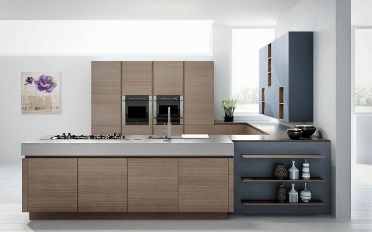 Contemporary wood veneer kitchen - ESSENTHIA - Lineaquattro