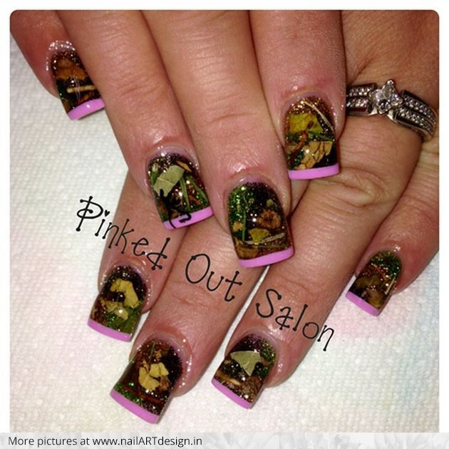 Girly Nail Art Designs: Camo Acrylic Nail Designs