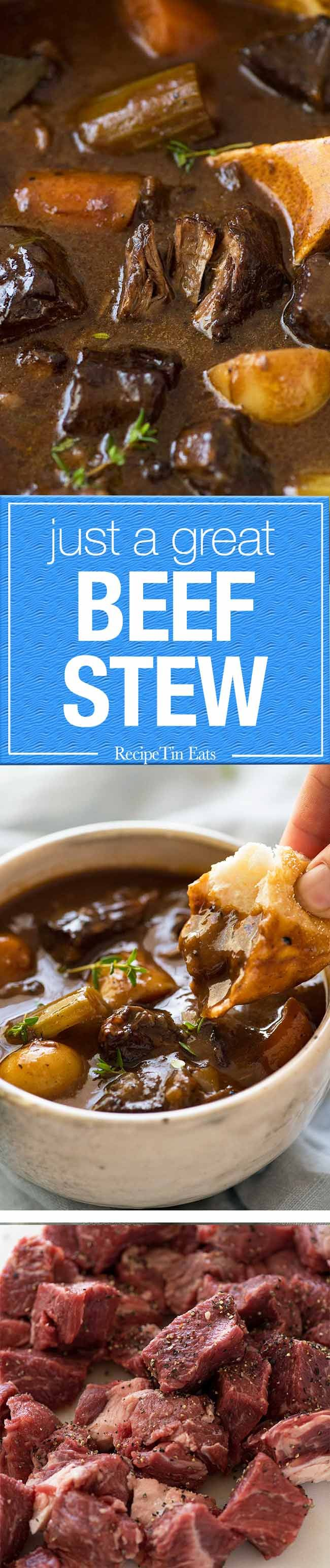 Just a great, classic Beef Stew. Thick, rich gravy with fall apart beef, tender carrots and potatoes.