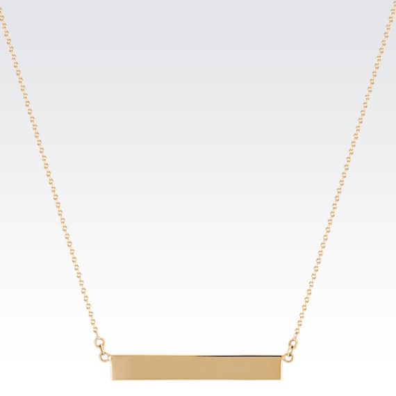 "14k Yellow Gold Bar Necklace (18 in.): shortened to 16"". Plain- nothing on it."