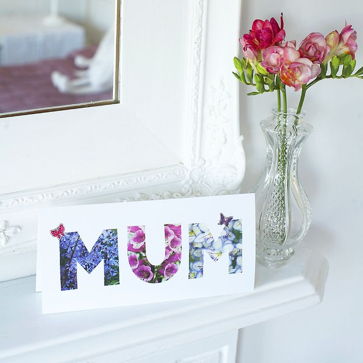 This letters Mother's Day card couldn't be easier to make - great for the kids to have a go - just cut out and stick three letters that spell 'Mum'.