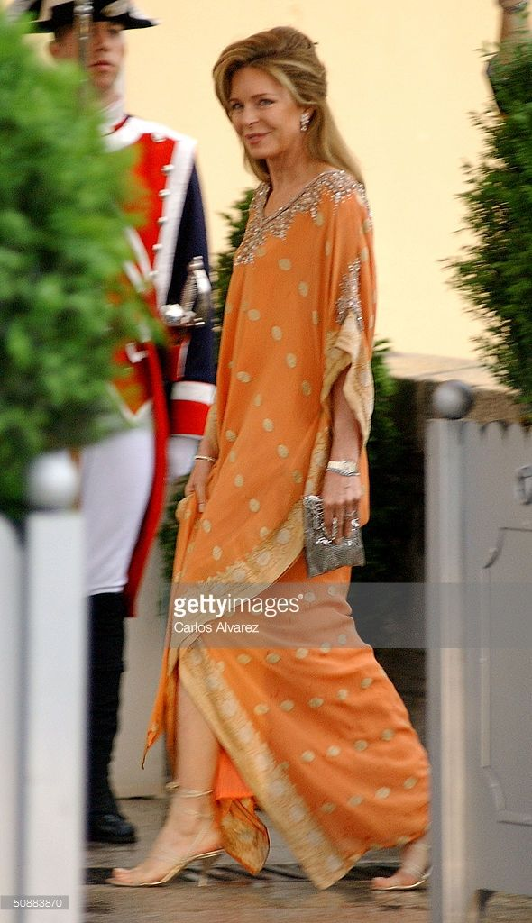 Queen Noor of Jordan arrives to attend a gala dinner at El Pardo Royal Palace on May 21, 2004 in Madrid, Spain. Spanish Crown Prince Felipe de Bourbon and his fiance, former journalist Letizia Ortiz Rocasolano, are to wed in Madrid on May 22nd in the first royal marriage in Spain of a crown prince or a king in nearly a century.