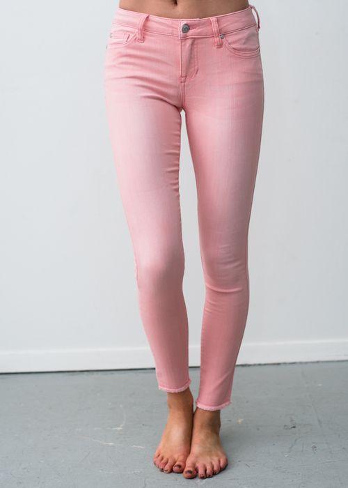 Pink Skinny Jeans With Frayed Bottom! Pants, Jeggings, Pink Jeggings, Online Boutique, Fashion, Online Shopping, Modern Vintage Boutique