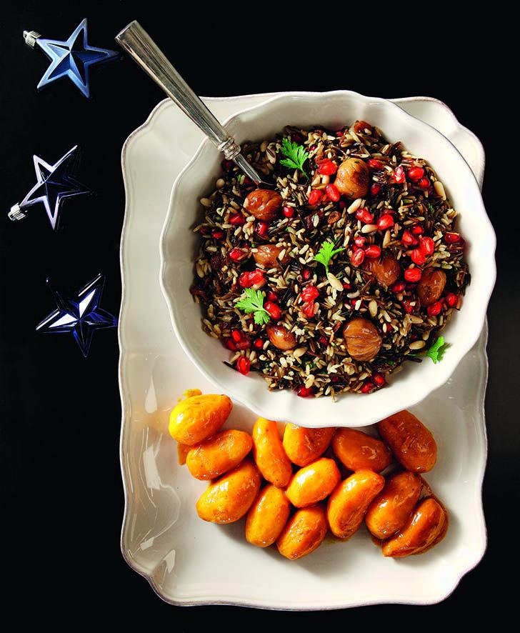 Δύο πολύ νόστιμες γαρνιτούρες, που σερβίρονται ζεστές και συνοδεύουν εξαιρετικά τα ψητά κρέατα και πουλερικά, δίνοντας ιδιαίτερο χρώμα και γεύση στο γιορτινό τραπέζι