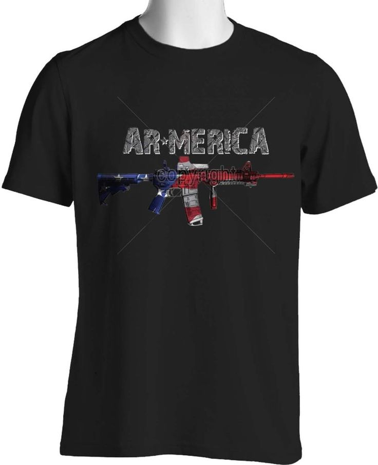 AR15 T Shirt American Military Guns Weapons 2nd Amendment Mens S to 6XL and Tall #PitStopShirtShop #GraphicTee