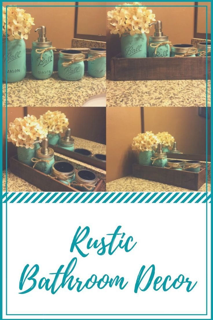 Looking for a unique, yet popular bathroom decor? This beautiful rustic planter box and mason jar is created to give your bathroom decor appearance in style. #farmhousedecor #rusticbathroomdecor #masonjar #rusticplanter #ad