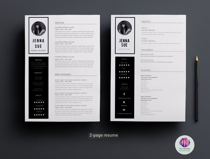 71 best CV images on Pinterest Cv ideas, Design resume and - 2 page resume sample