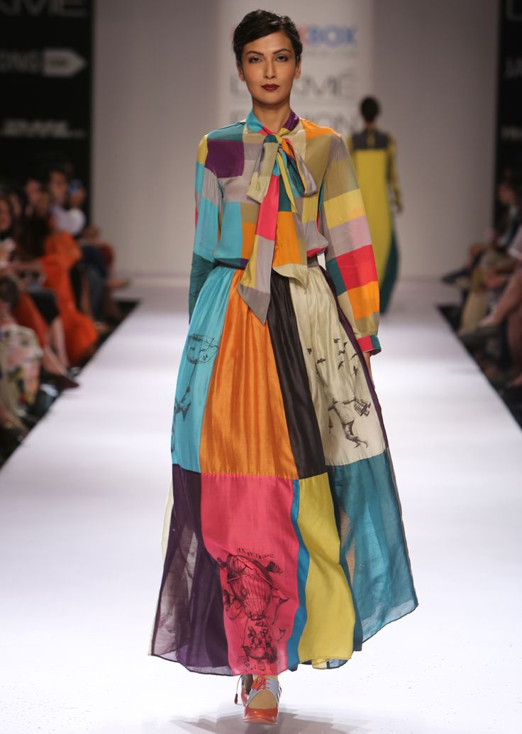Check Balloon Bow-tie Blouse, Colour Blocked Skirt ,Bombay Balloons AW'14 Collection, Shop the collection from www.thequirkbox.com