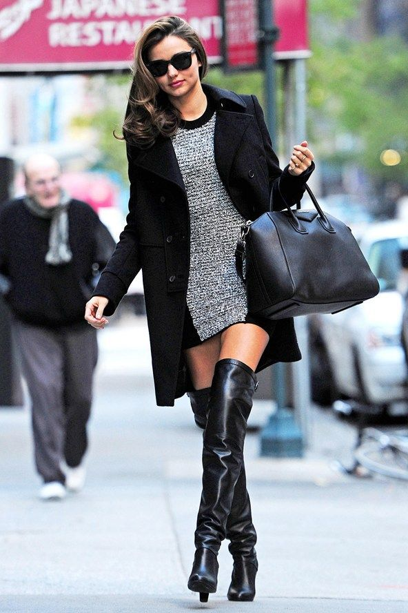 Miranda Kerr - Miranda was spotted again in NYC wearing an ultra-luxe coat, oversized bag and statement sunnies with  over-the-knee boots. ♥ Like my pins? Pls share and visit my celebrity site at http://www.celebritysizes.com/ ♥ #celebritysizes #mirandakerr #nyc