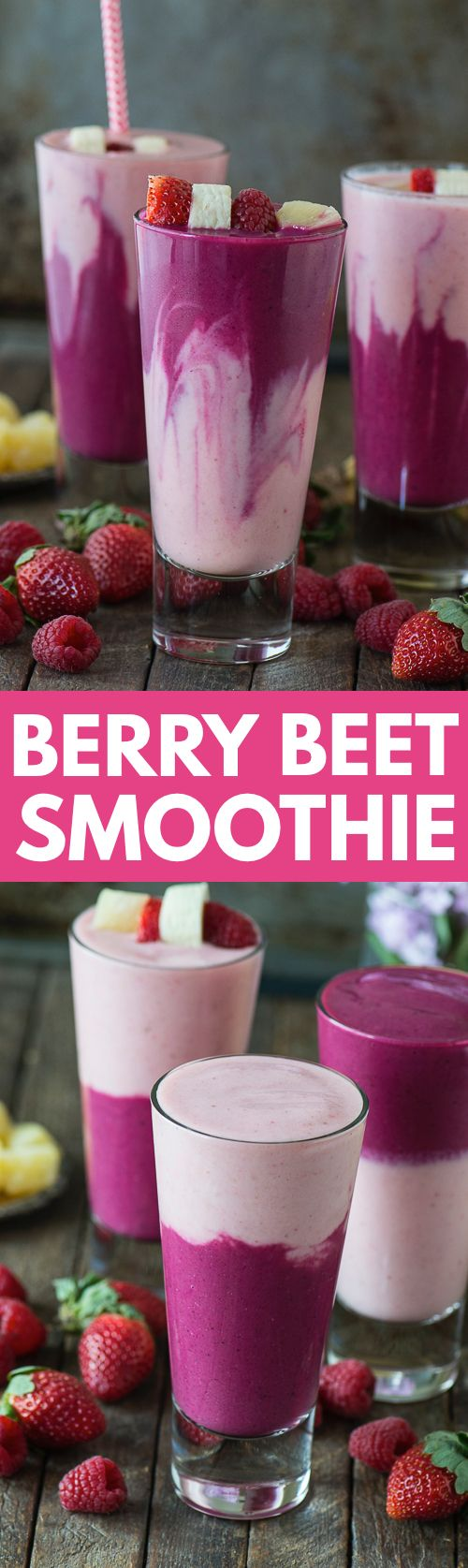 This two layer berry beet smoothie recipe is easy to make, full of fruit, and has a fun color!