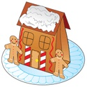 paper bag gingerbread house with paper cutouts
