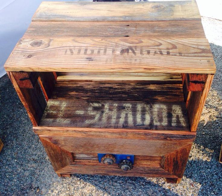 Batlow inspired cabinet. Made from recycled apple boxes and an old machinery cog. Unique item