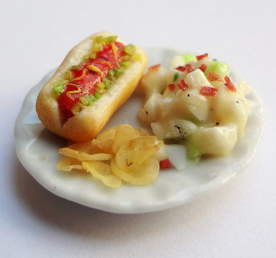 Miniature Hot Dog and Potato Salad by WaterGleam on DeviantArt