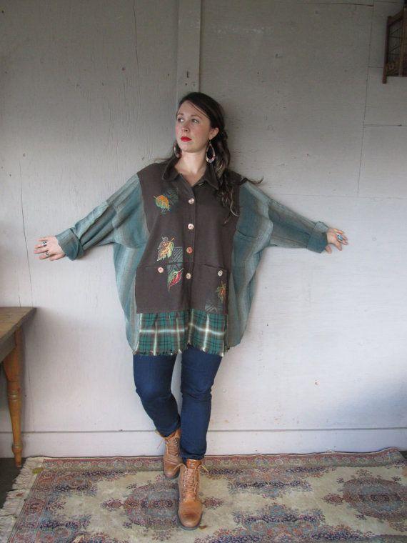 Artsy plus size tunic upcycled clothing Boho Kaftan loose top one size oversize hippie tattered woodland shirt Caftan Eco LillieNoraDryGoods