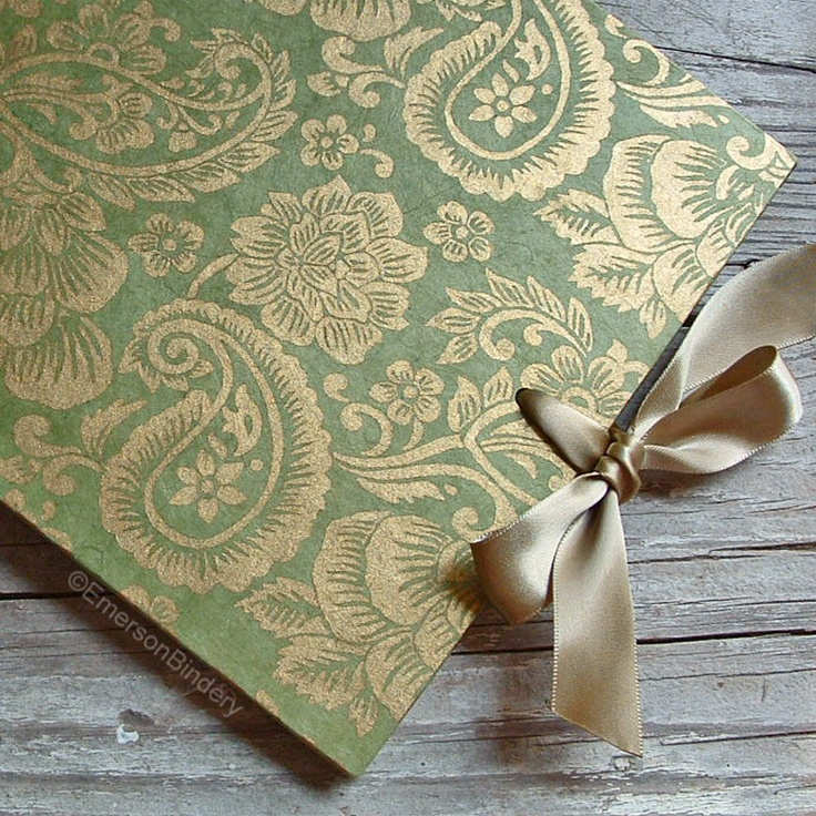 Wedding Guest Book, Moss Green and Gold Paisley, LARGE 9x7, MADE upon ORDER. $45.00, via Etsy.