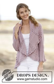 "Crochet DROPS jacket worked in a circle with lace pattern in ""Cotton Viscose"". Size: S - XXXL. ~ DROPS Design"
