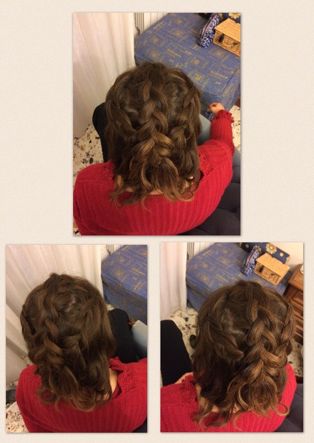 Hairstyle done on my friend! Section off the sections of the crown of the hair, Dutch braid all three of them and tie them with an elastic. Cross the outer sections and pin them down. Lie the middle plait on top and use a curl to hide the elastic and pin. Curl the hair, use hairspray!