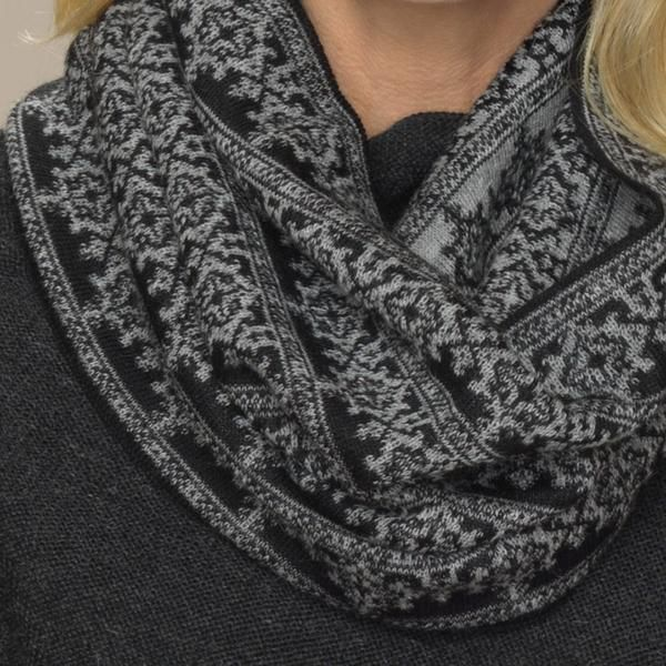 Rosa baby alpaca double faced jacquard pattern snood silver grey detail