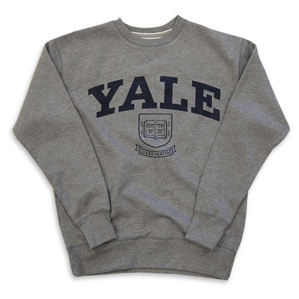 Yale Sweatshirt Crew Vintage College Heather Grey ($65) ❤ liked on Polyvore