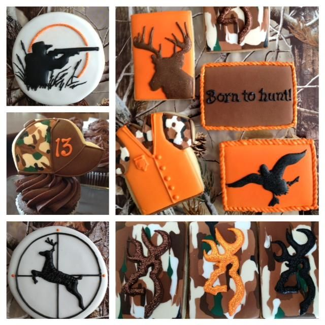 Hunting Cookies ~ Cookie Connection Deer, camo and orange vest tshirt, baseball hat