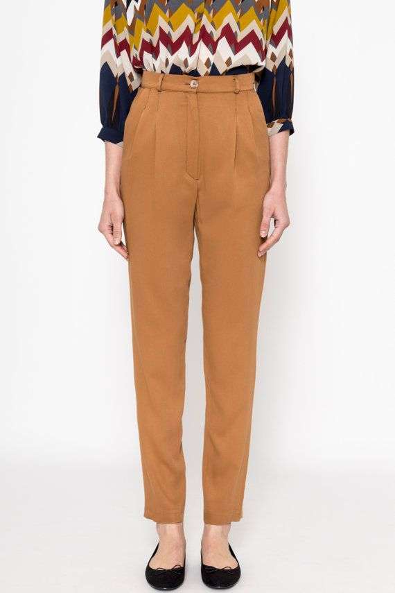 High Waisted Pants (Mustard) / Pleated Pants / Vintage Pants / Vintage Trousers / Pleated Trousers