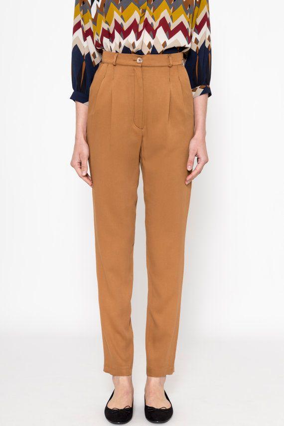 High Waisted Pants (Mustard) / Pleated Pants / Vintage Pants / Vintage Trousers / Pleated Trousers