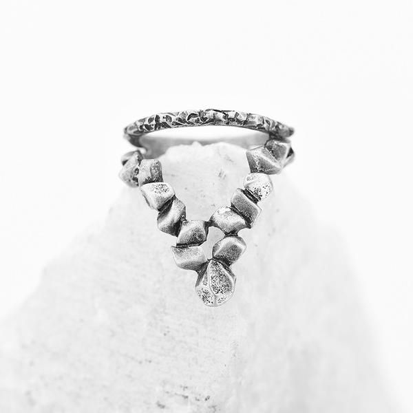 Sand-Cast Triangle Midi Ring | Bohemian | Gypsy | Indie | Hippie Style
