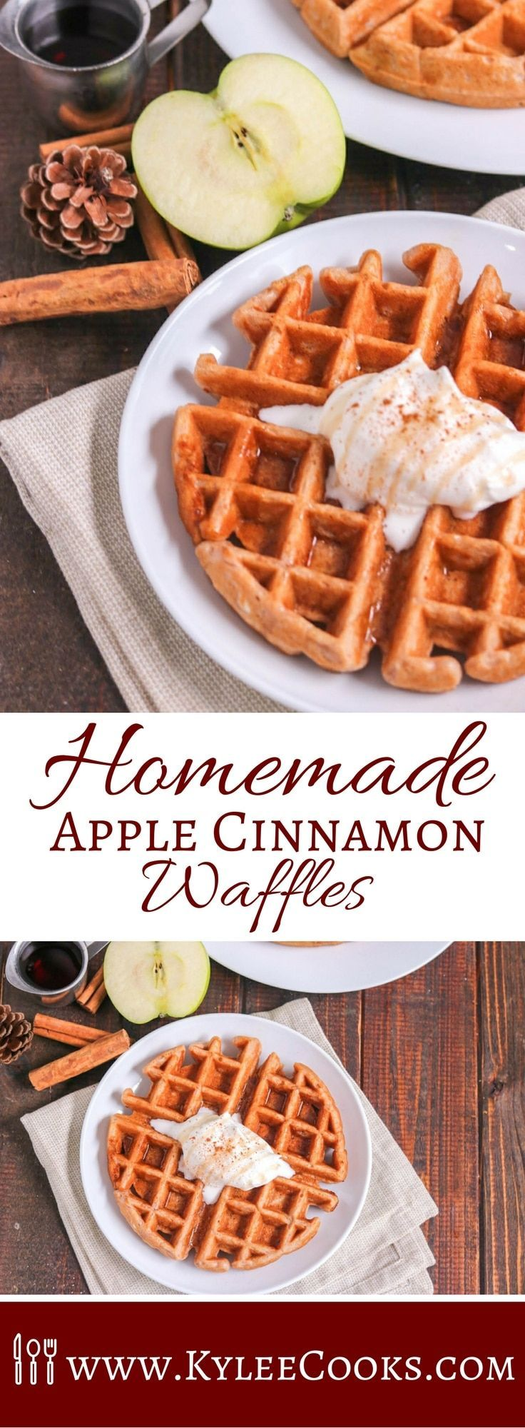 Apples and Cinnamon are the perfect flavorings for these Homemade Apple Cinnamon Waffles. Warmth, comfort and so much yum! The whole family will enjoy these!  #breakfast #waffles #apple #cinnamon