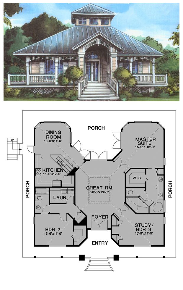 Florida Cracker Style COOL House Plan ID: chp-24538 | Total living area: 1789 sq ft, 3 bedrooms & 2 bathrooms. #floridacracker #houseplan