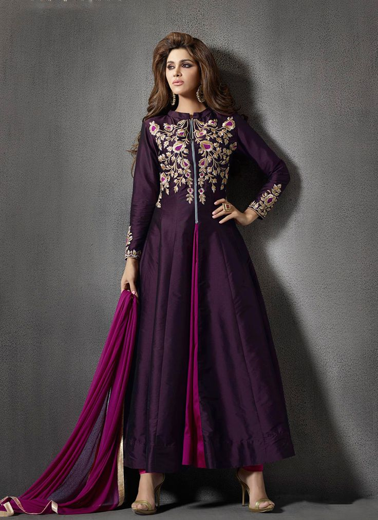 Featuring purple and magenta embroidered indo fusion suit intricately crafted with resham, zari and sequins work.It is paired with matching bottom material and chiffon duppata.This outfit can be stitched upto size 44. For stitching enquiries, please email us at customercare@hunardesigns.com …
