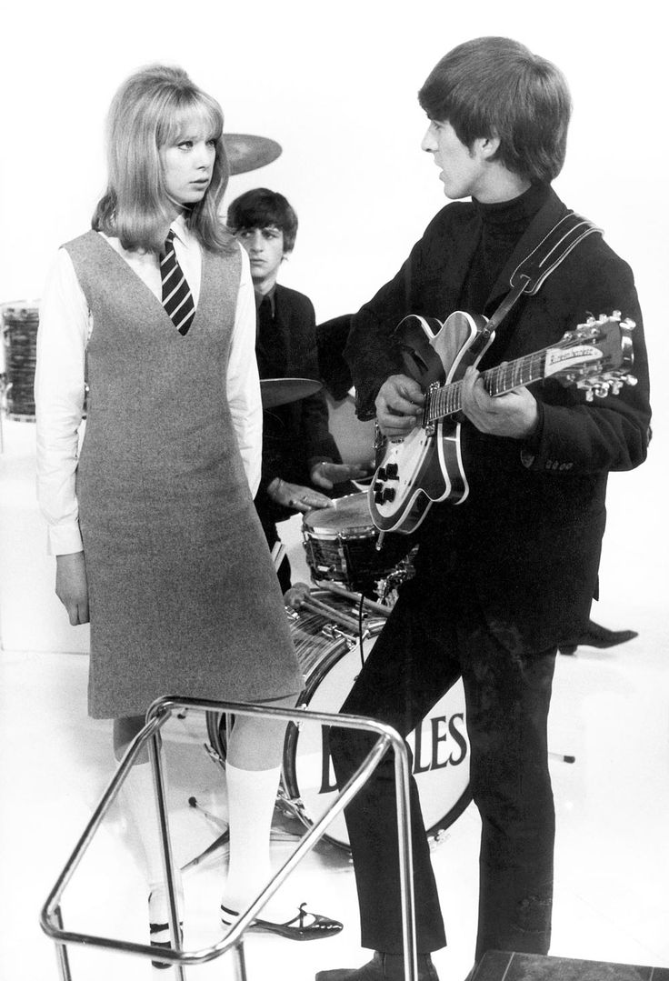 George Harrison; with Patti Boyd on the set of The Beatles' 'A Hard Day's Night' at Scala Theatre
