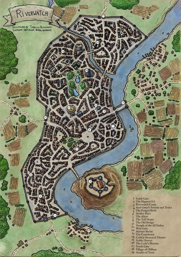 Another Hand Drawn Dnd City Map From Me Still Practicing Colouring In Ps So All Feedback Welcome Fantasy City Map Fantasy City Fantasy World Map