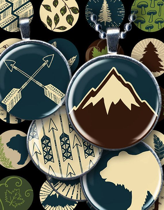 #Printable Big Woods camping images including bears, arrows, mushrooms, bicycles and more. Great for jewelry, bottle caps and mixed media crafts. #959 by piddix